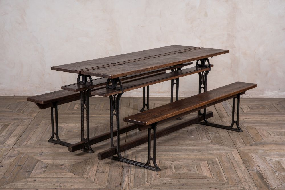 pair of metamorphic school tables and dining benches