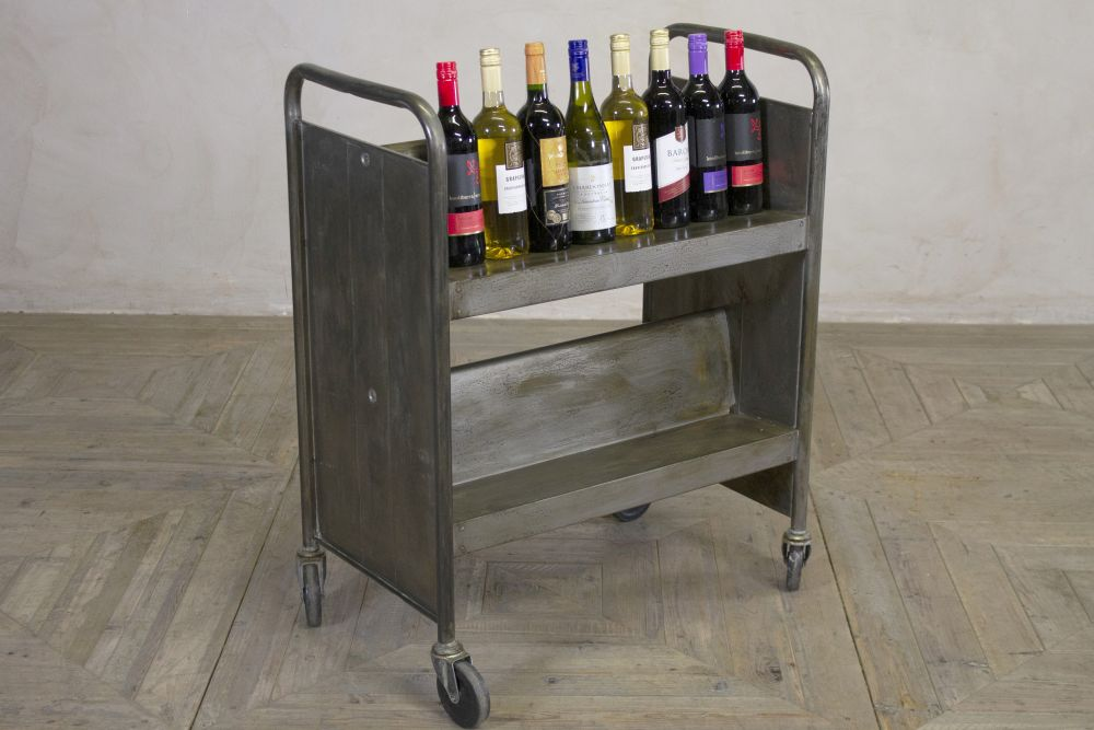 industrial metal drinks trolley