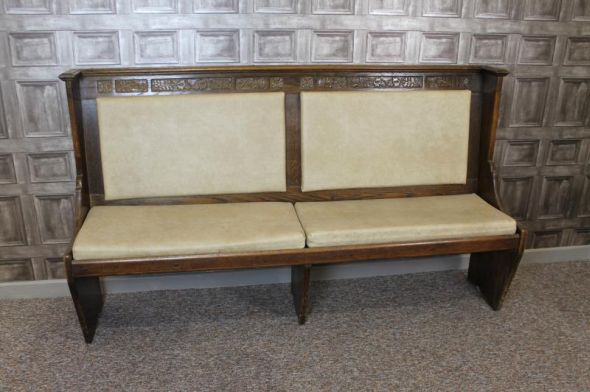 OAK SETTLE PEWS BENCH 1970S/1980S