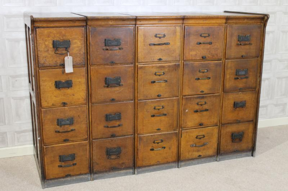 large antique filing drawers