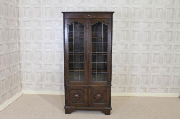 Oak Bookcase With Glass Doors Jacobean Revival Antique Oak Bookcase