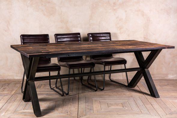 Reclaimed Elm Dining Table Steel X