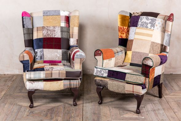 upholstered patchwork wing chair