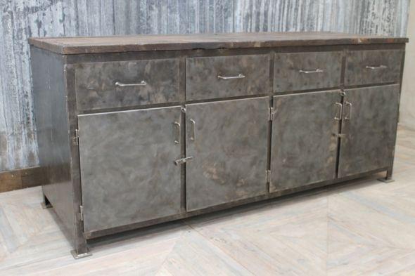 Metal Industrial Sideboard Large Vintage Cupboard