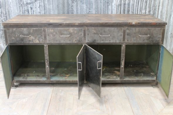 Metal Industrial Sideboard Large Vintage Cupboard