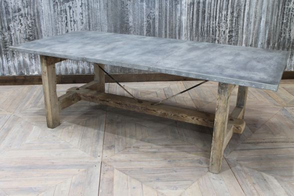2.29m Zinc Industrial Style Kitchen Table