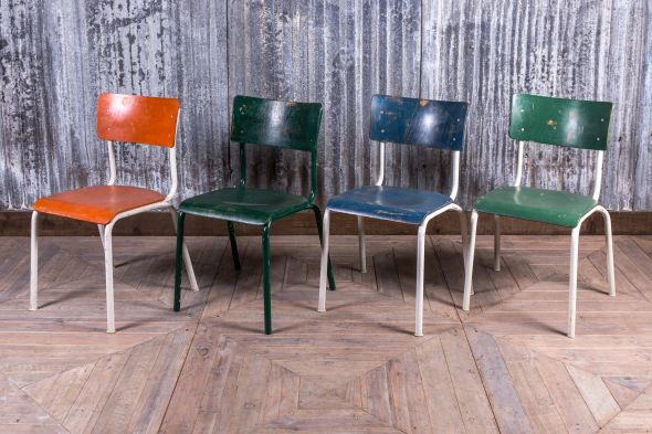 vintage metal school chairs