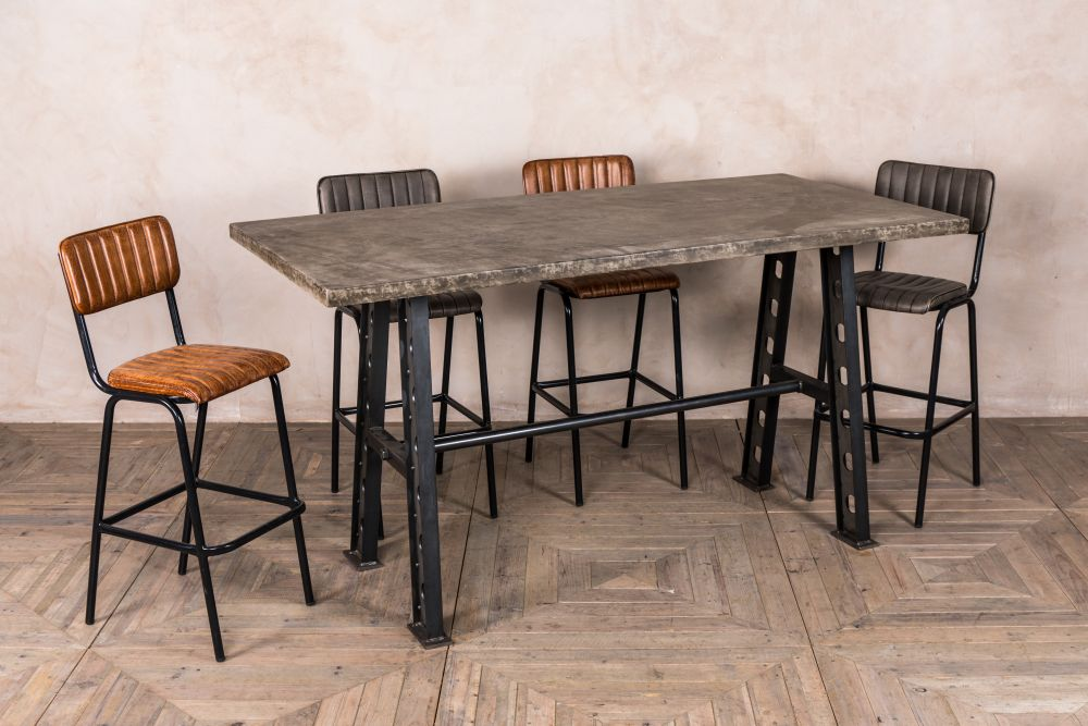 concrete style top tall dining table