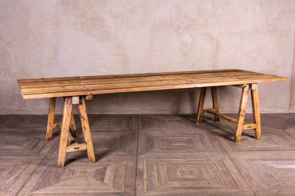 wooden trestle table