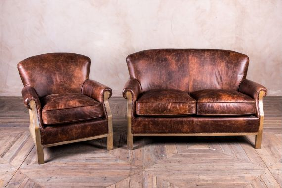 walnut leather sofa