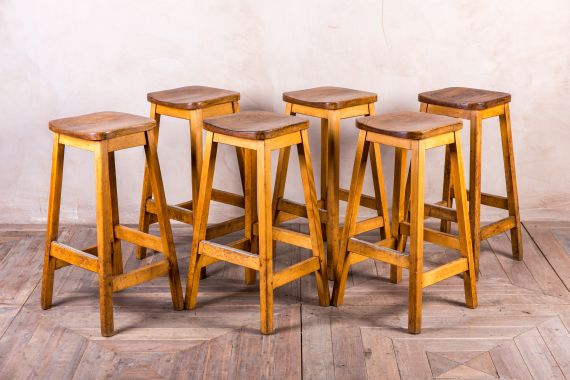 Vintage Wooden Stool from Imperial College London