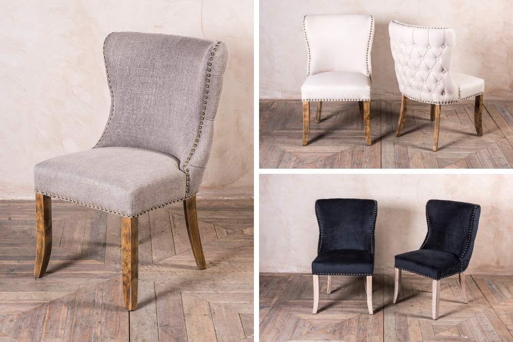 Chamonix French style upholstered dining chairs