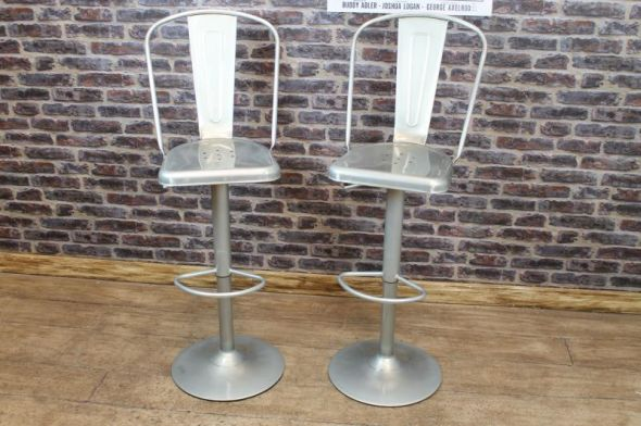 Tolix style bar stool with back