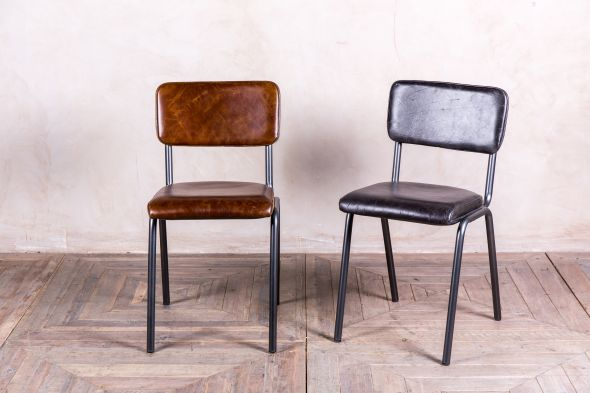 vintage look leather cafe chairs