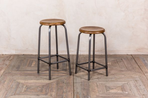 oak top industrial design bar stool