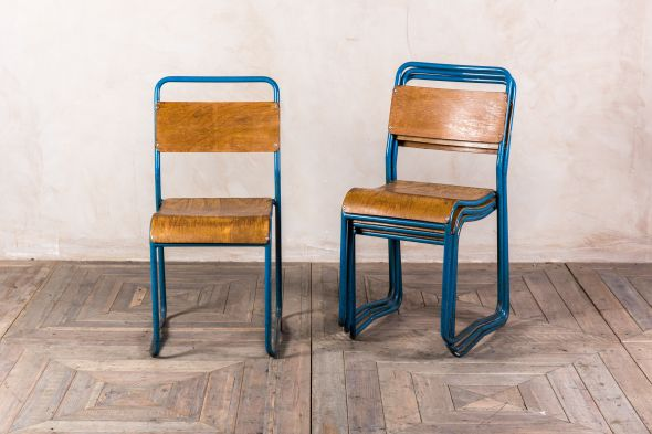 Blue Metal Vintage Stacking Chairs