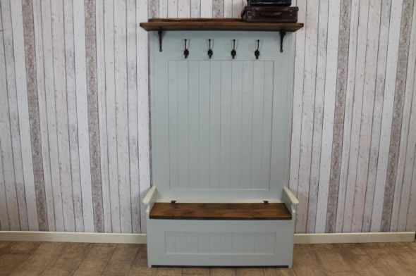 Handmade Hall Bench With Coat Rack Peppermill Interiors