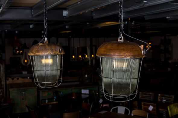 Copper Pendant Light with Metal Cage