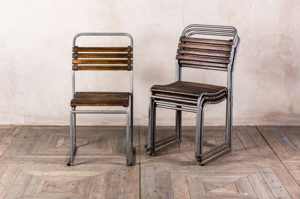 Grey Metal Slatted Stacking Chairs