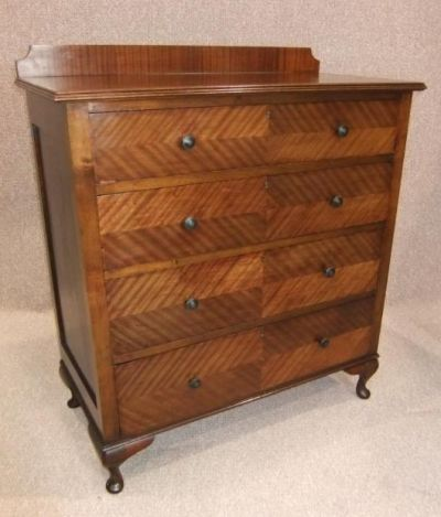 Art Deco Chest of Drawers, a Walnut and Mahogany 4 Drawer