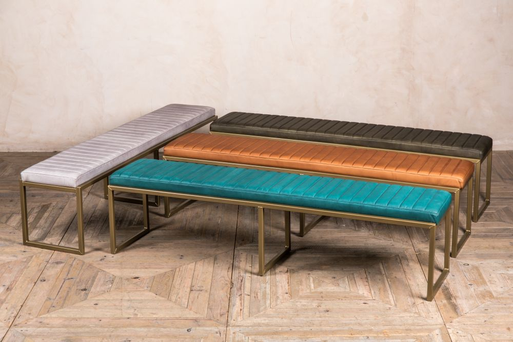 rocco faux leather dining bench