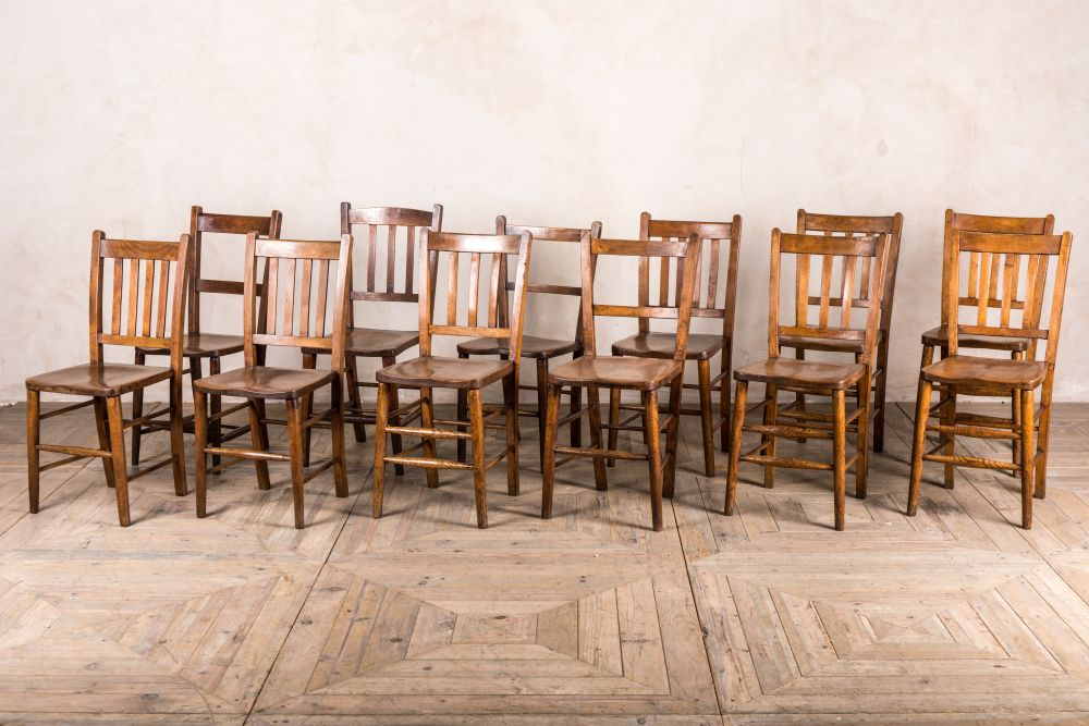 vintage harlequin set of 12 chapel chairs