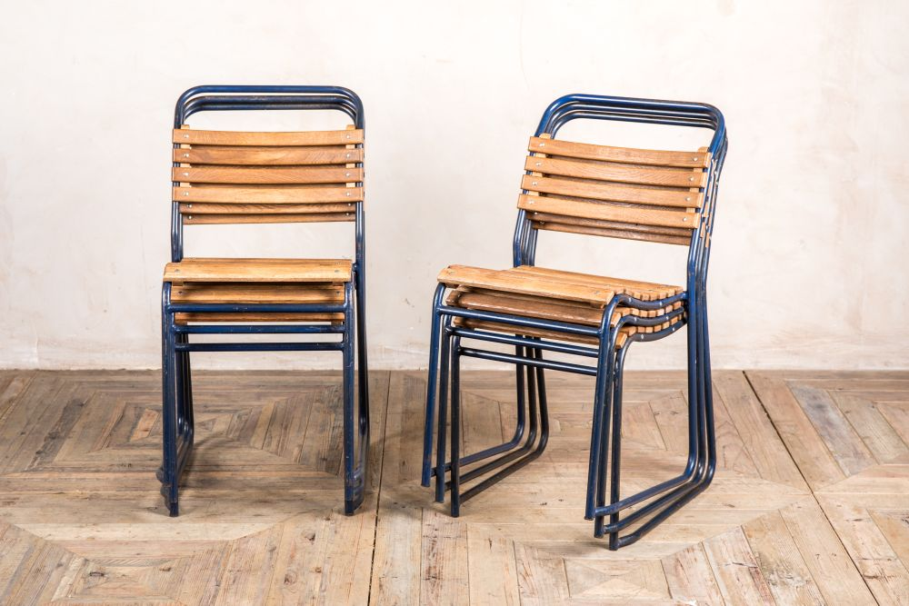 vintage slatted blue stacking chair
