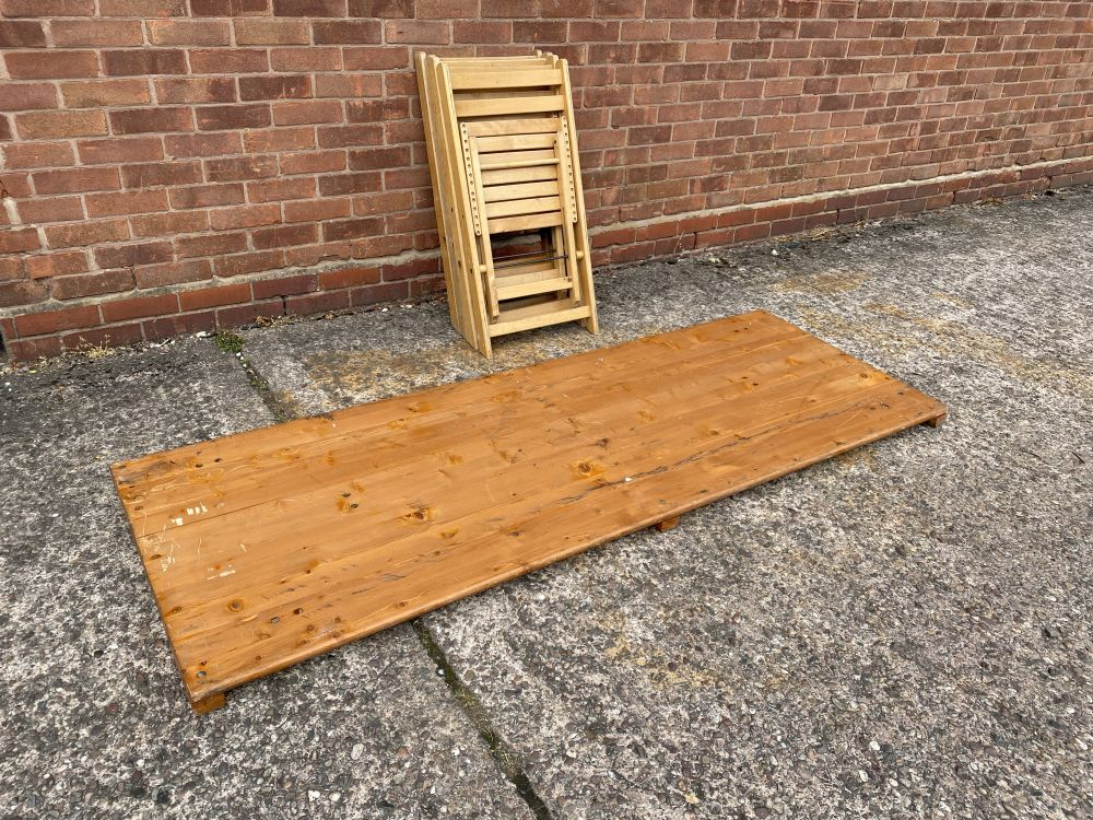 vintage outdoor wooden folding table