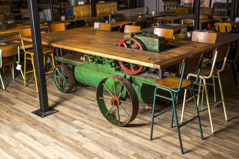 vintage industrial agricultural machine table