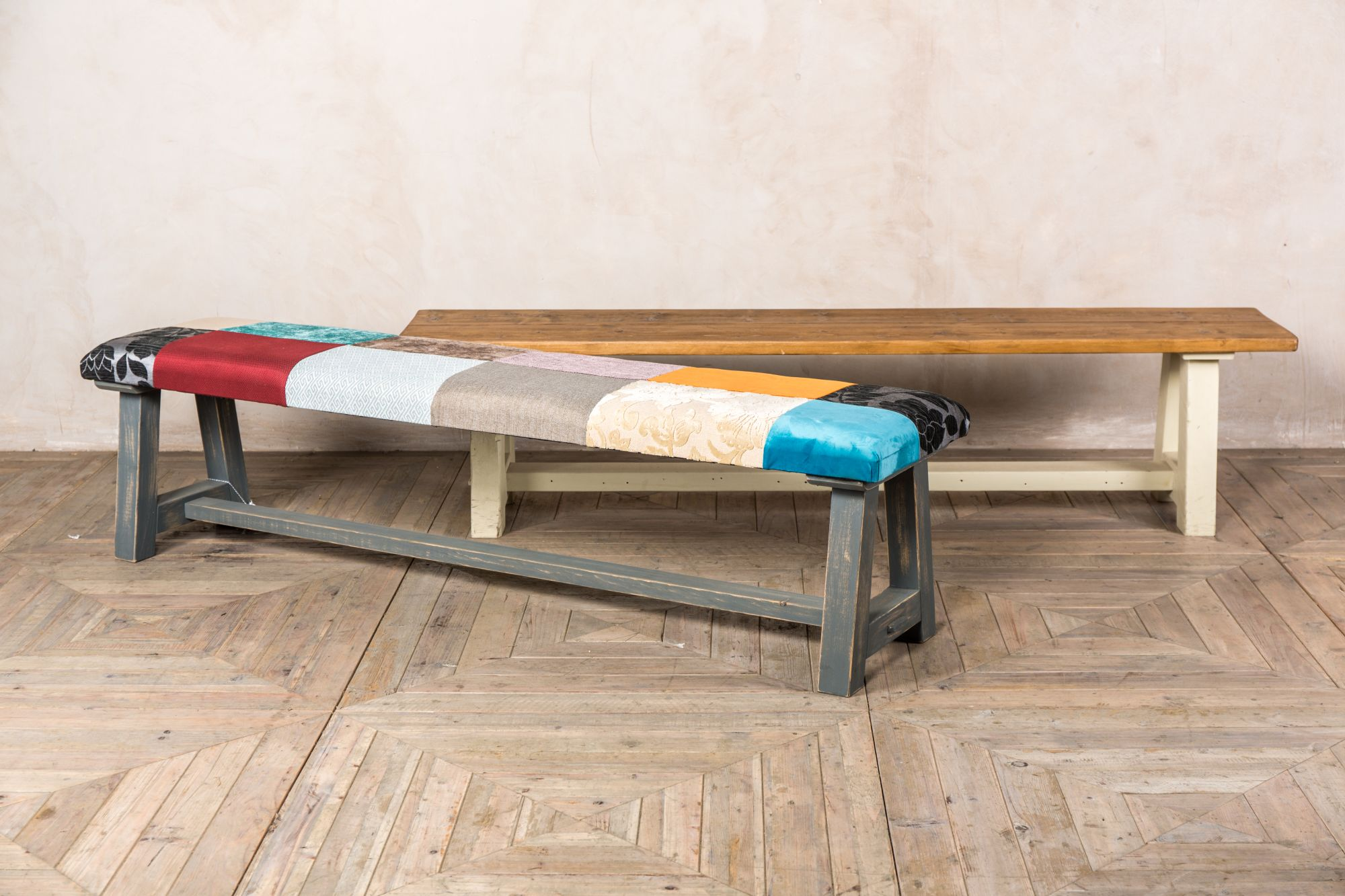 patchwork rustic pine bench