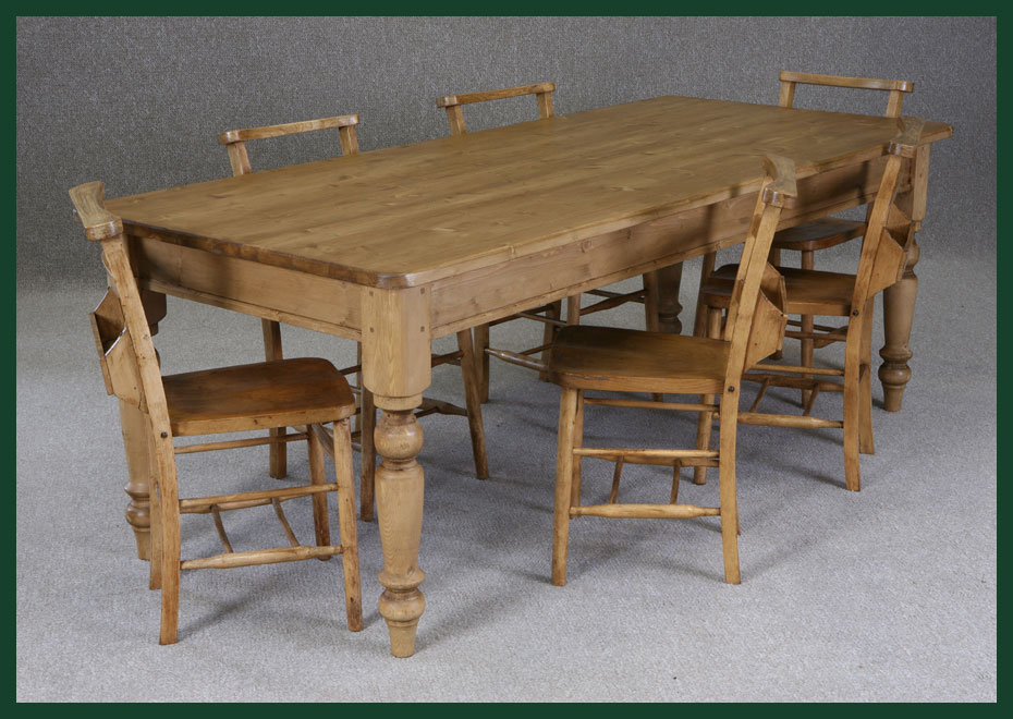 Bespoke Pine Farmhouse Table Handmade To Order Victorian Style   Pine  Kitchen Table With Drawers