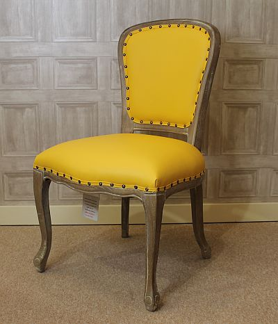 LEATHER DINING CHAIR UPHOLSTERED FRENCH STYLE