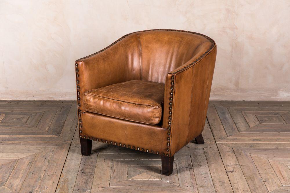 Leather Tub Armchair Tan Bucket Chair