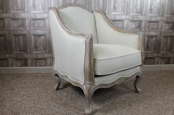 FRENCH STYLE ARMCHAIR IN ANTIQUE WHITE THE NICE