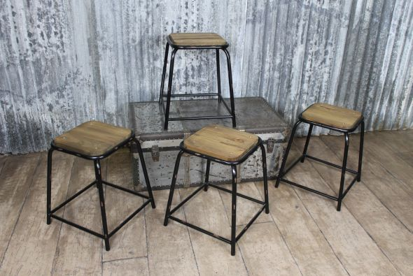 metal frame with reclaimed elm seat stool