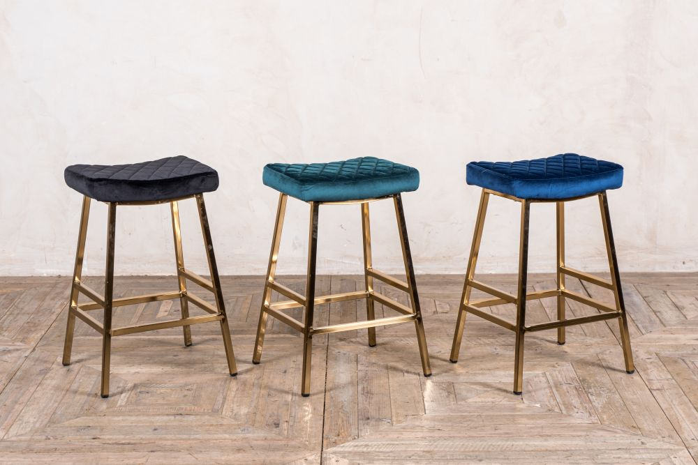 christie velvet breakfast bar stools