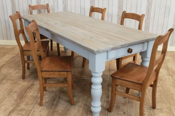 & BESPOKE PINE DINING TABLE PAINTED BASE | Peppermill Interiors