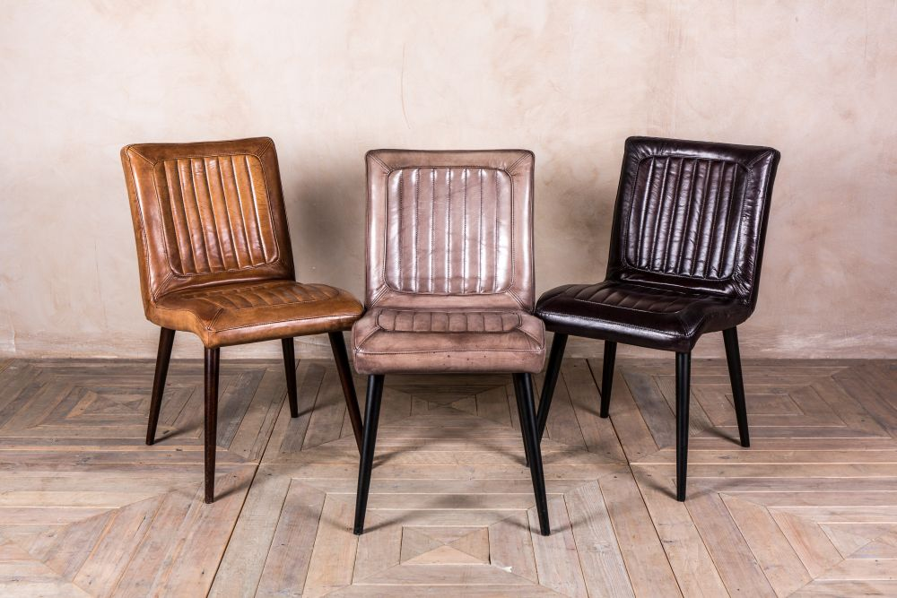 ribbed vintage style leather chairs