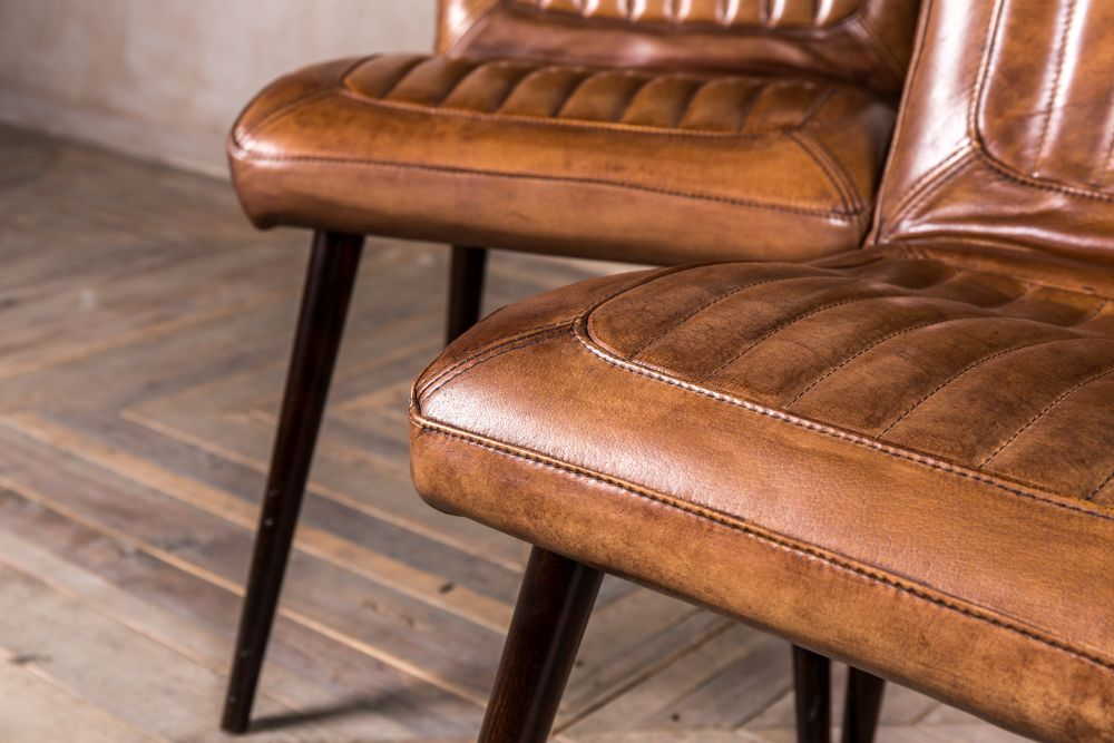 Vintage Style Leather Chairs Peppermill Interiors