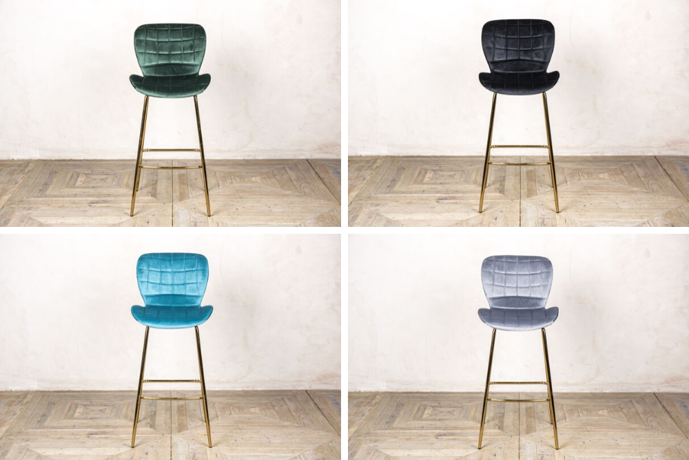 pair of lily velvet upholstered bar stools