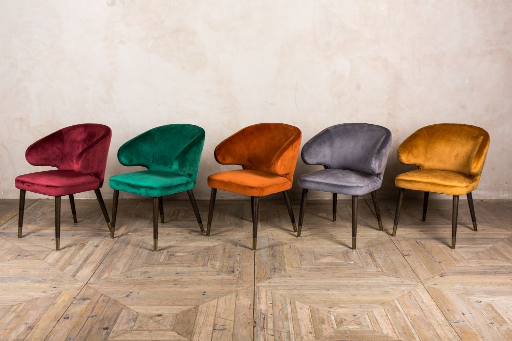 velvet retro style dining chairs