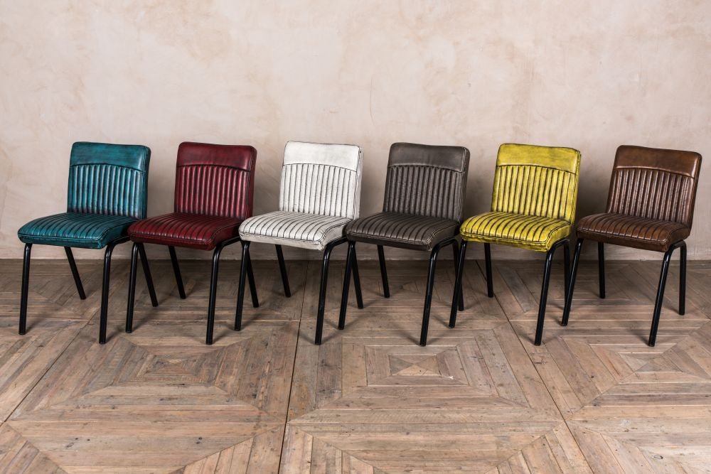 colourful industrial style dining chairs