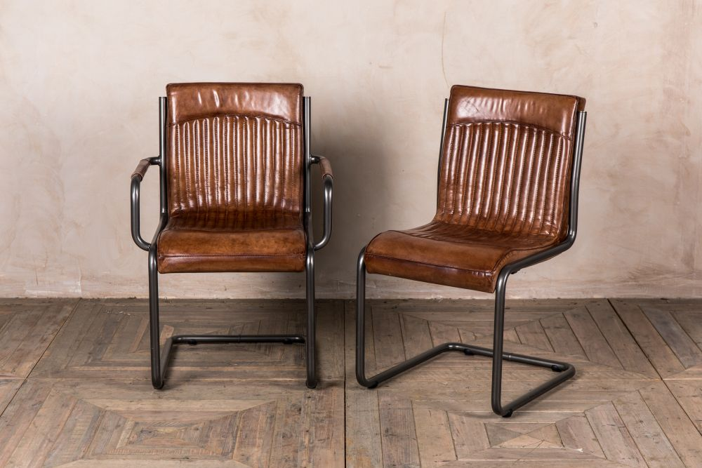 industrial style leather dining room chairs