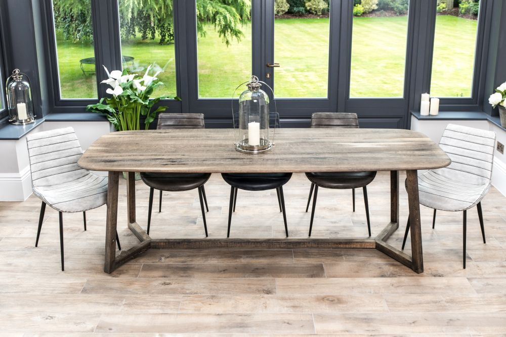 oak trestle dining table