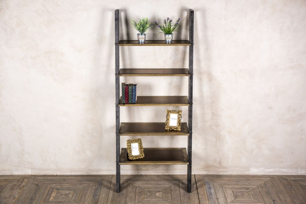 oak and copper shelving unit