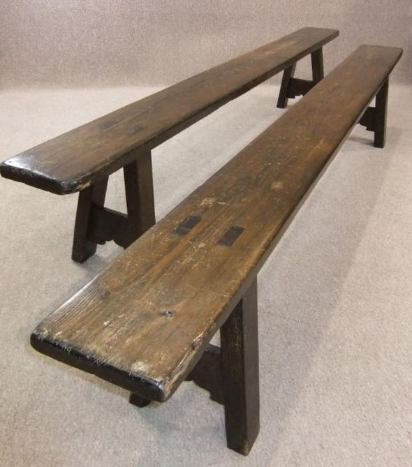 Victorian pine benches