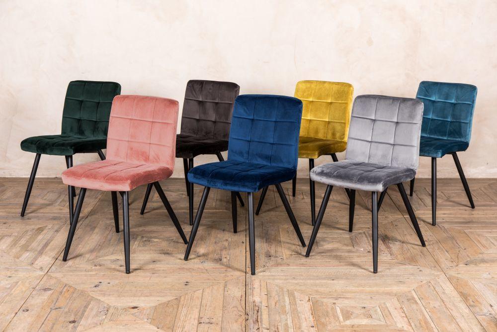 Velvet Dining Chairs Phoenix Range, Velvet Dining Room Chairs