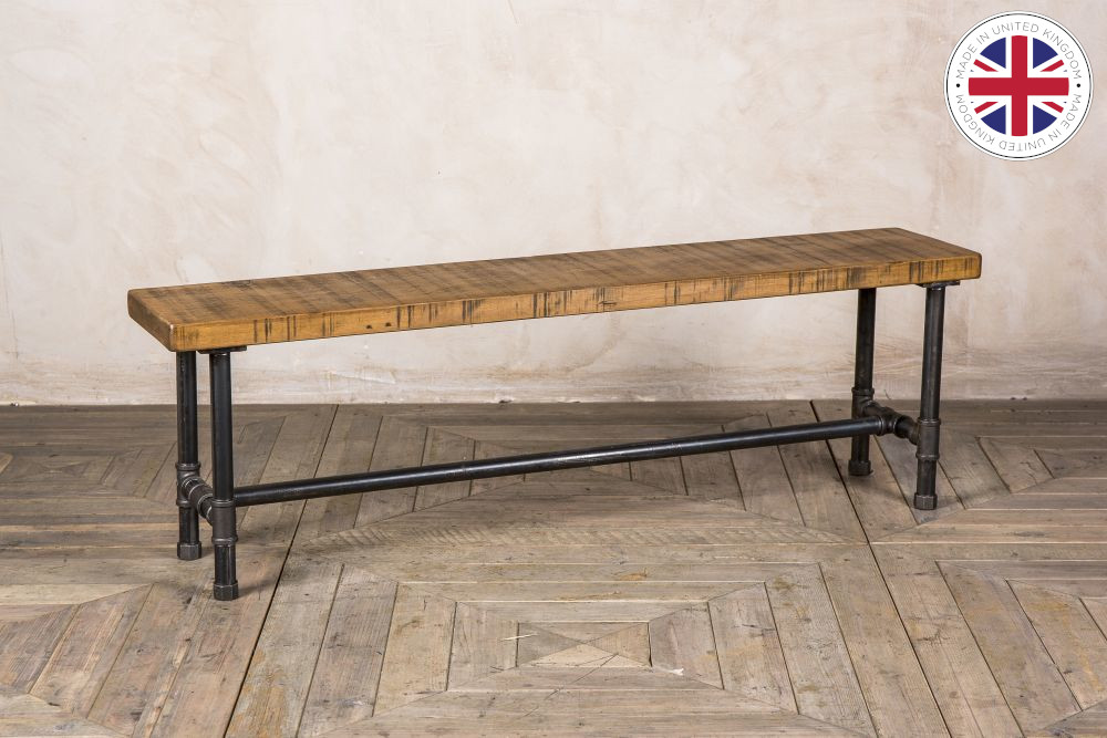 Steel Pipe Bench With Pine Top Peppermill Interiors - Industrial Pipe Sofa Table