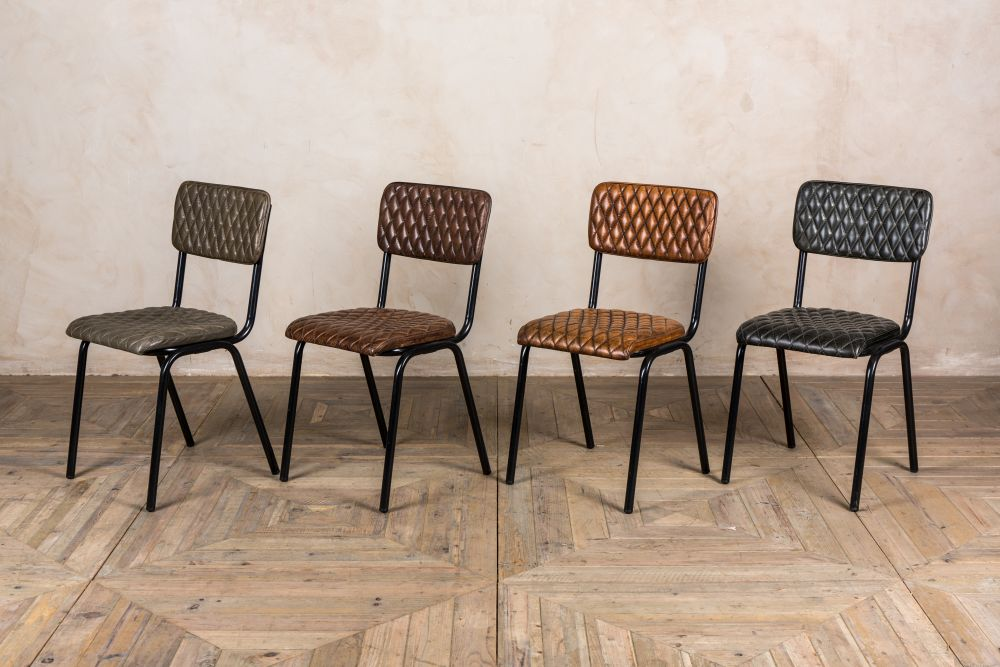 quilted leather dining chairs