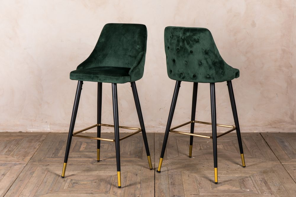 Peachy Pair Of Button Back Bar Stools Peppermill Interiors Caraccident5 Cool Chair Designs And Ideas Caraccident5Info